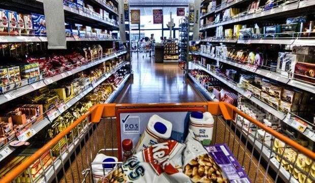 Узкие проходы продукты, супермаркет