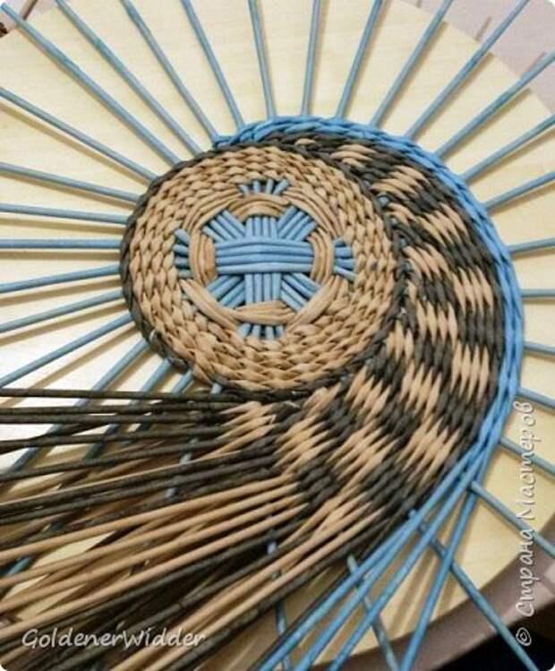 Мастер-класс Плетение Панно 40 см Спиральное плетение Бумага газетная Трубочки бумажные фото 12
