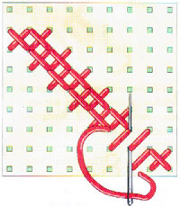 Вышивка крестиком по диагонали. Двойная диагональ справа налево (фото 15)