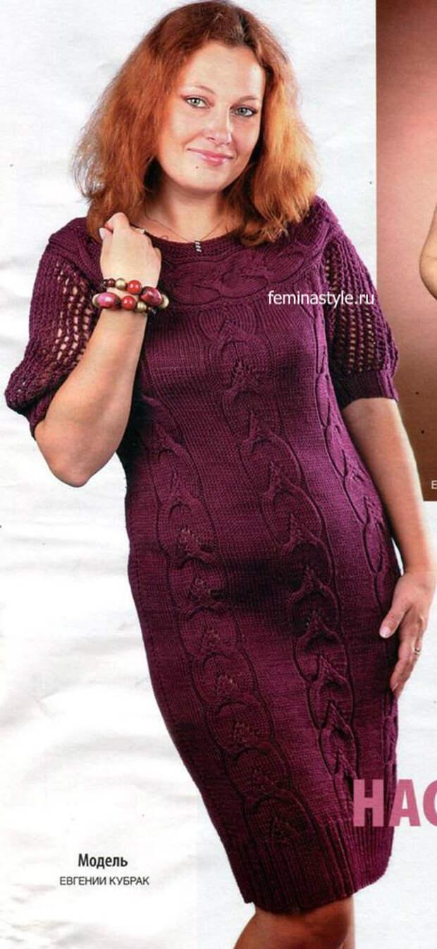 Вязание спицами платья цвета вишни