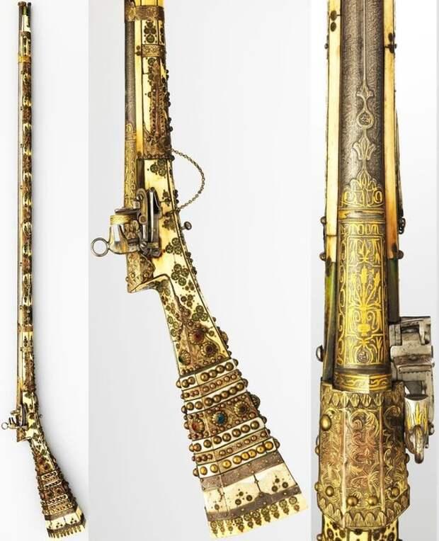Османское ружье miquelet, конец 18 в, сталь, дерево, слоновая кость, латунь, перламутр. искусство, огнестрел, оружие, старинное
