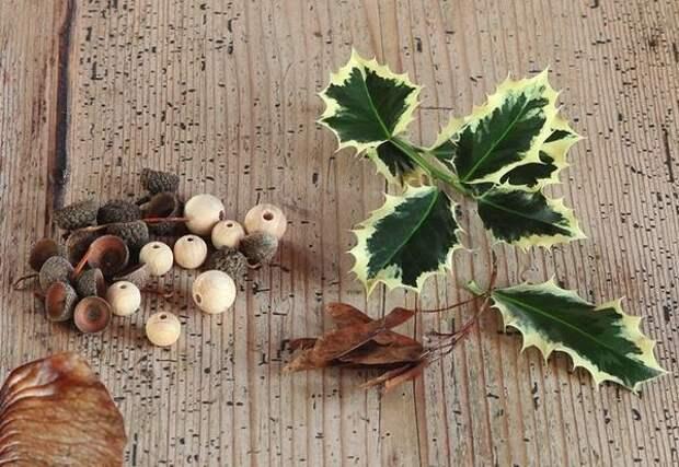 Также вам потребуются крылатки клена. Ножницами срежьте с них часть с семенами так, чтобы остались только крылышки.