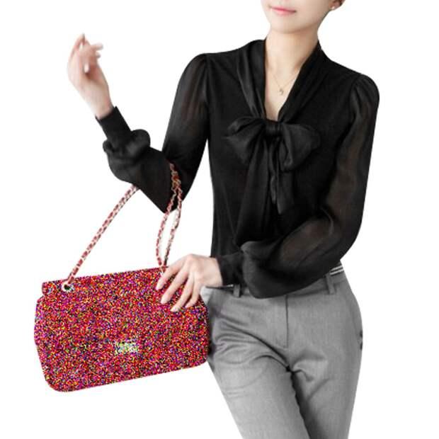 Черная блуза с бантом - бесплатные выкройки размеры от 38 до 56