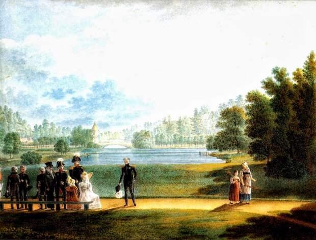 Александр I  на прогулке в Павловске (акварель 1820 год)