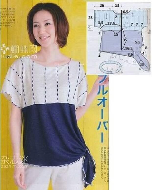 Блузка-футболка, с узлом