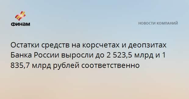 Остатки средств на корсчетах и деопзитах Банка России выросли до 2 523,5 млрд и 1 835,7 млрд рублей соответственно