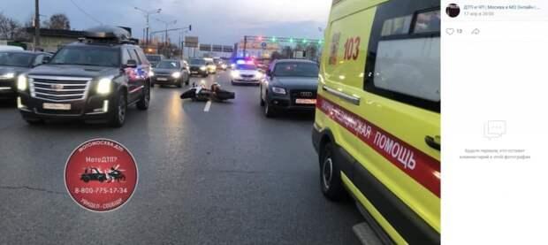 Мотоциклист пострадал в ночной аварии на проспекте Маршала Жукова