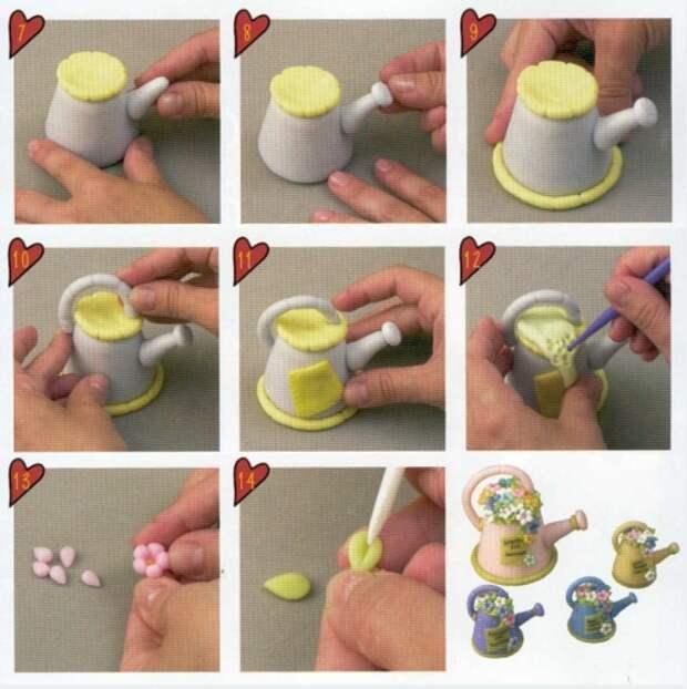 мастер-класс лейка из пластики, полимерная глина, цветы, пошаговый урок лепки, миниатюры из пластики