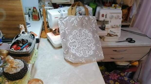 Нежная, ажурная сумка-авоська из тюля