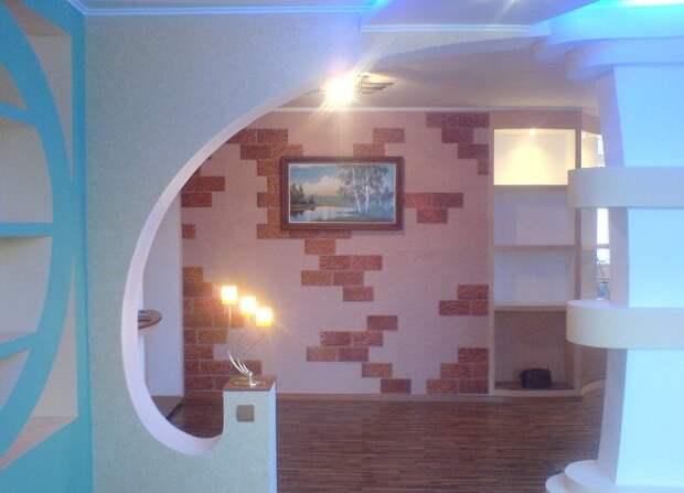 Перегородки из гипсокартона для зонирования кухни и гостиной: фото, варианты установки (49 фото)
