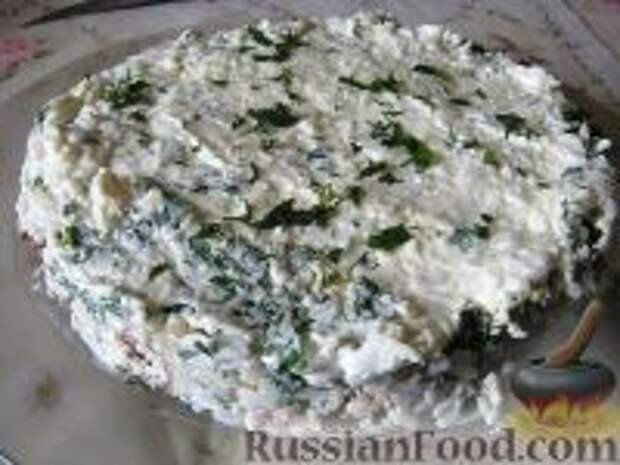 Фото к рецепту: Салат слоеный из печени