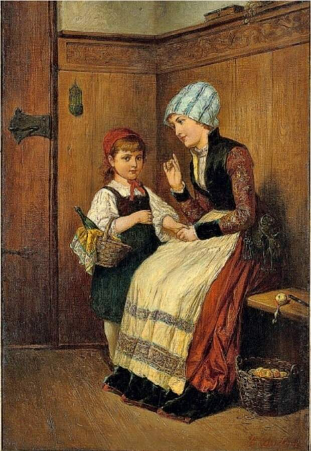 Sarah Ellen Sanf. Красная Шапочка и мать / Little Red Riding Hood