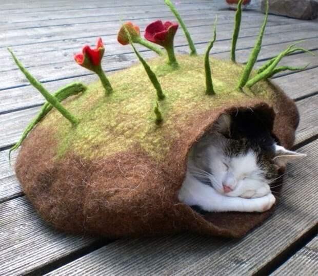 Войлочный домик для кошки