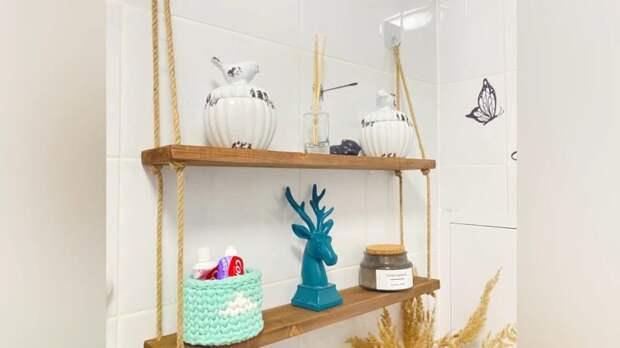 Стильный тренд в ванной: практичная полка почти за даром! Красивая идея из дерева и джута