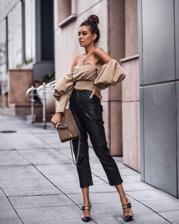 кожаные брюки 2020 фото 16