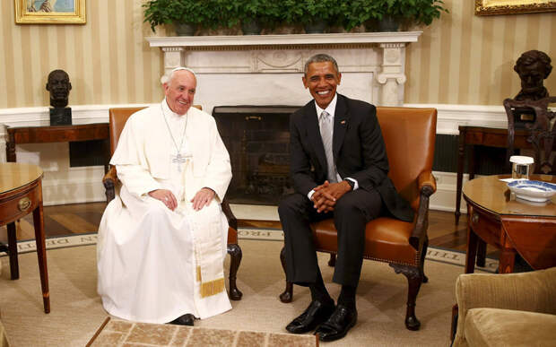 Президент США Барак Обама с Папой Франциском