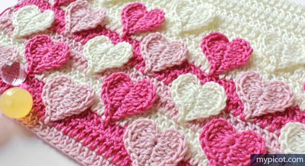 Разноцветные сердца крючком, узор для подушек, пледов