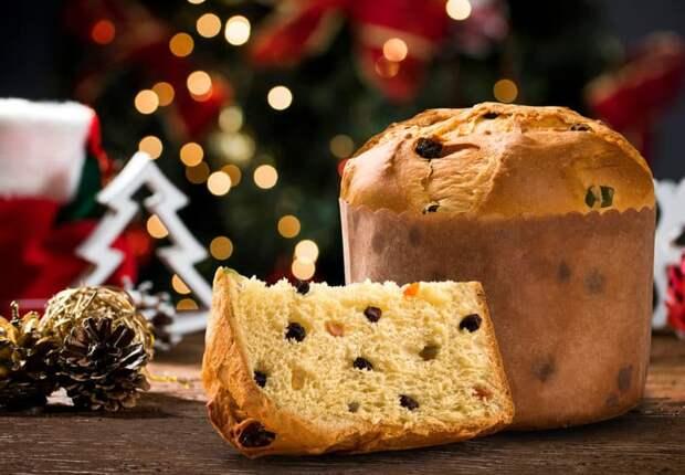 Десерт Панеттоне. Итальянская сладкая выпечка с добавлением сухофруктов, ягод и шоколада 2