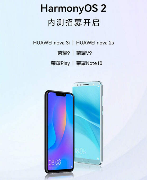 Huawei начинает тестировать HarmonyOS 2.0 для смартфонов Honor 9, Honor Play, Honor Note 10, Honor V9, Huawei nova 2s и Huawei nova 3i
