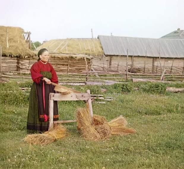 Крестьянка, Пермская губерния империя., путешествия, цветное фото