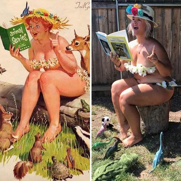 Роскошная Хильда в современной трактовке: женщина воссоздала образы известной пин-ап толстушки из 50-х