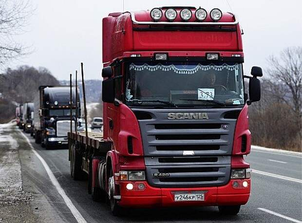 Truck drivers protest against Platon ETC system in Primorye Territory