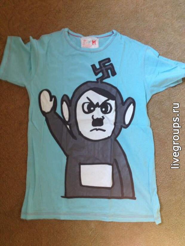 """Вот такую футболку с изображением """"Гитлера в костюме телепузика"""" можно купить в Тайланде"""