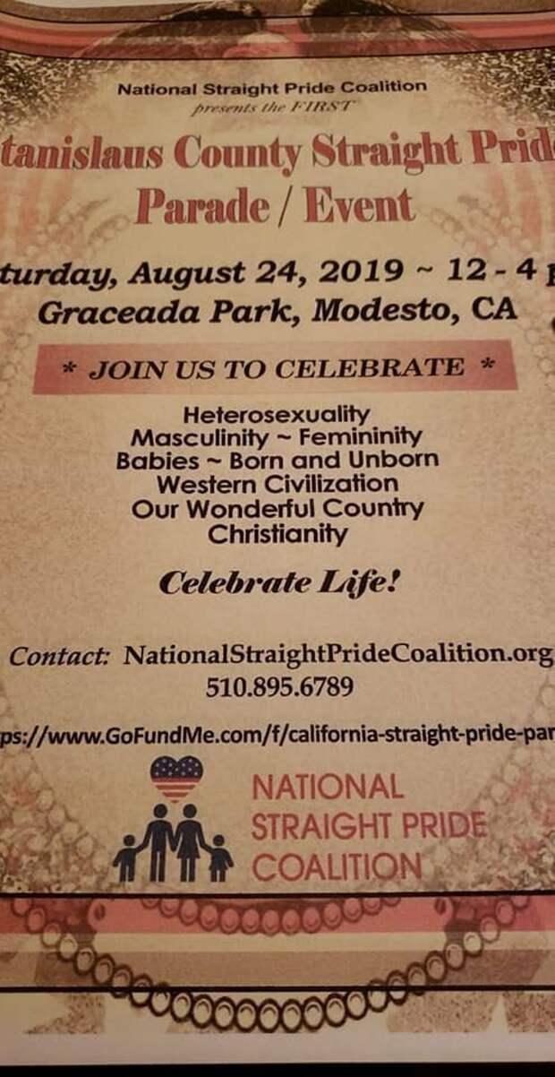 Активистам Калифорнии запретили проводить парад посвященный гетеросексуальности straight pride, ynews, калифорния, лгбт, модесто, парад натуралов