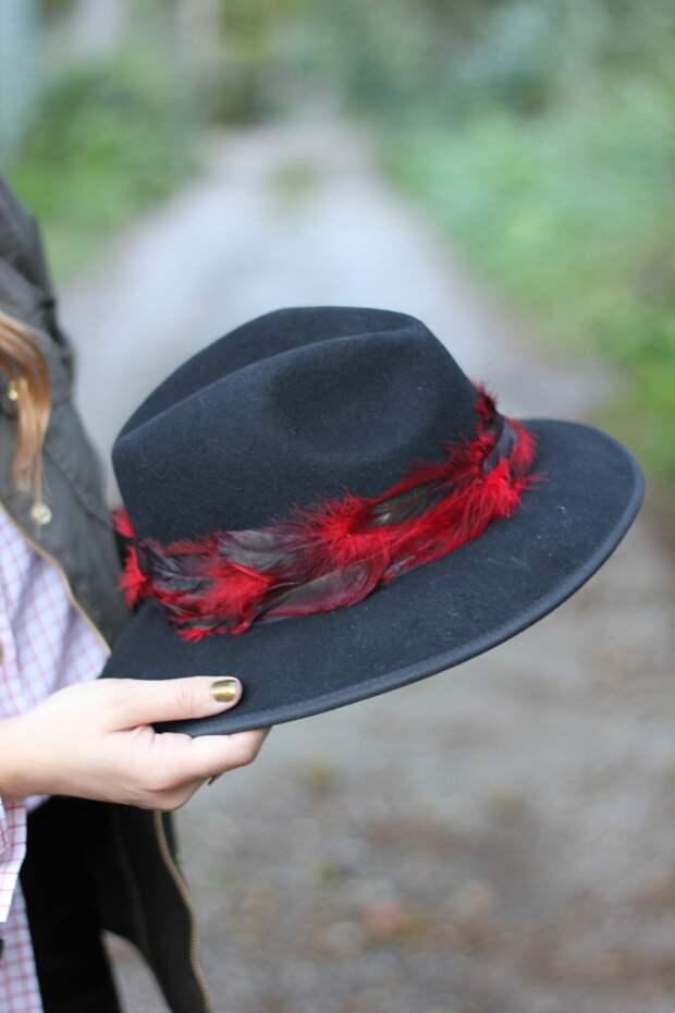 Шляпа - федора с перьями