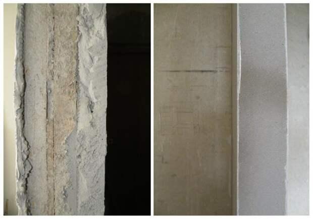 Слева: толщина штукатурки в некоторых местах. Справа: армирование углов железным уголком.