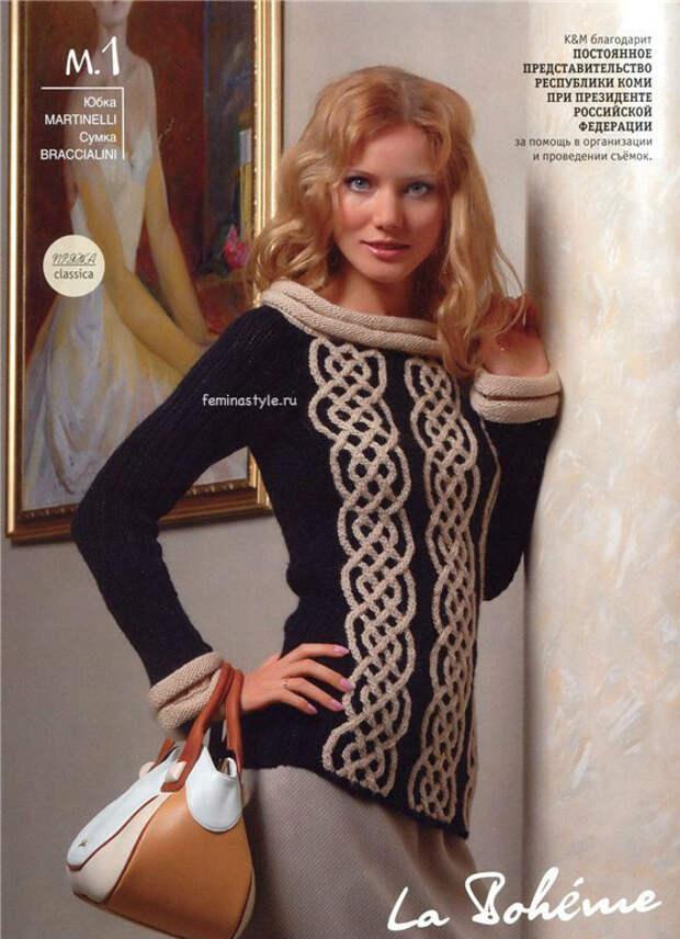 Пуловер с орнаментом спицами