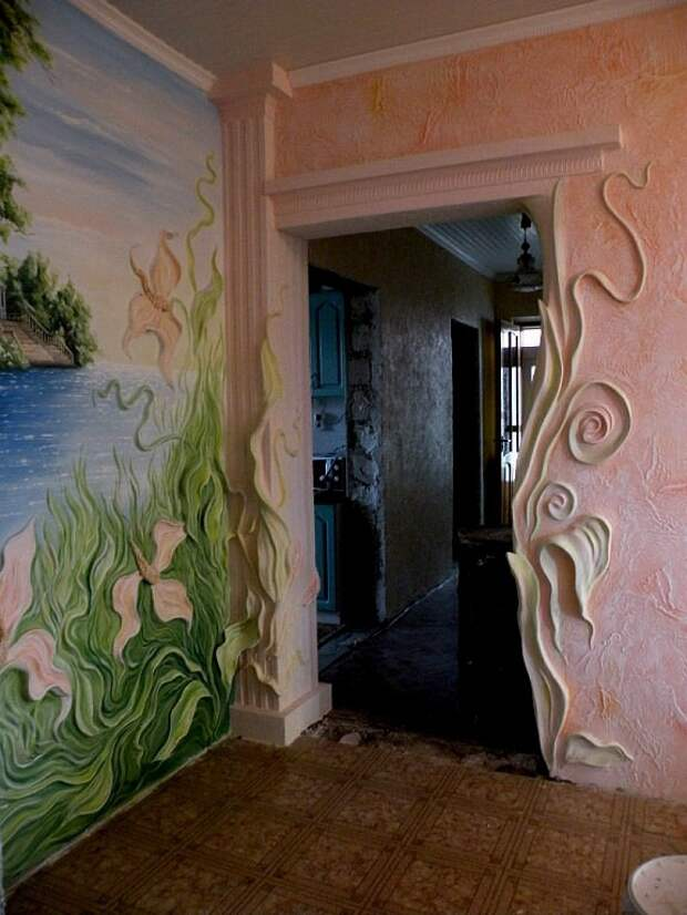 Потрясающие художественные идеи в отделке стен  ремонт, своими руками, стены, творчество