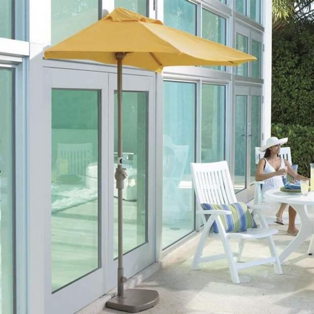 Если вы живёте в своём доме и у вас есть патио, то для создания тени вы можете использовать половину пляжного зонтика дизайн, креатив, своими руками