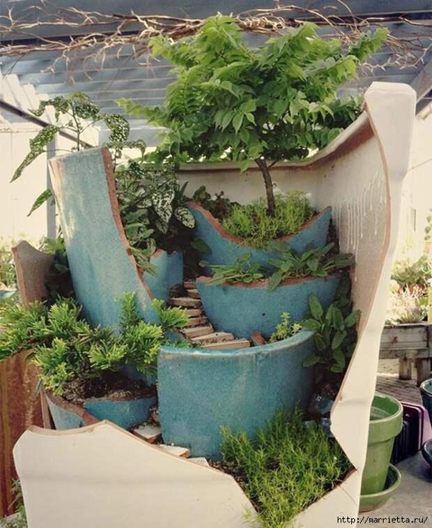 Миниатюрный сад из цветочного горшка. Идеи (2) (572x700, 348Kb)