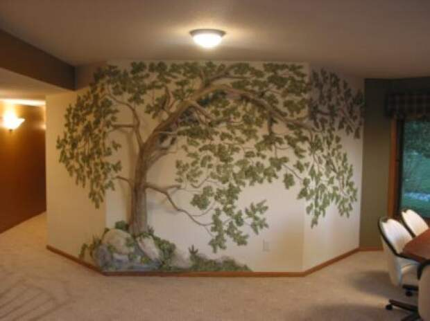Дерево на стене. Идеи декора интерьера