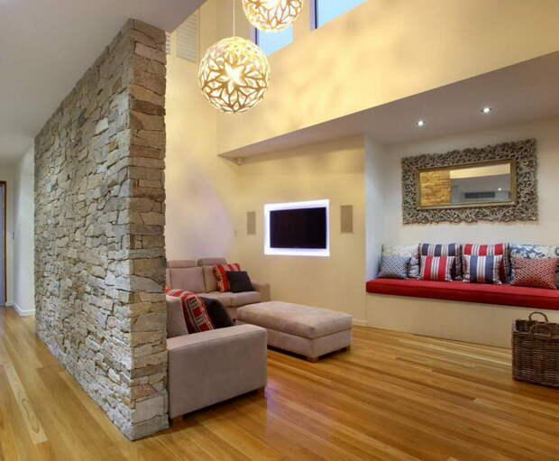Одна стена из камня - 65 приемов оформления разных комнат