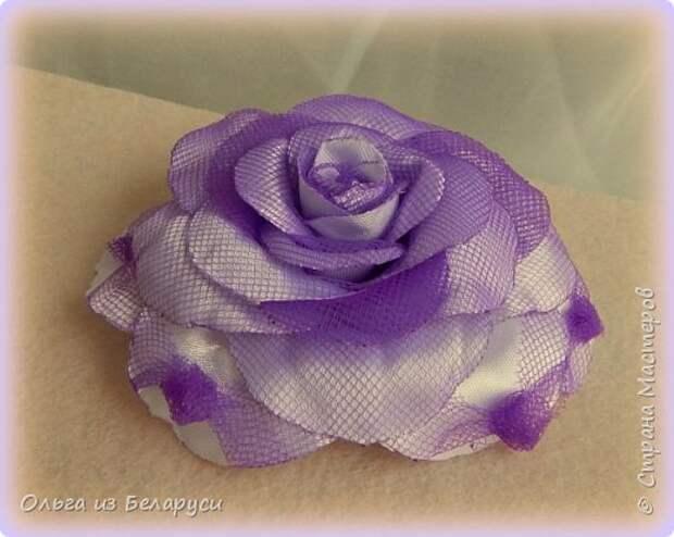 Мастер-класс Флористика искусственная Моделирование конструирование МК листка розы из фатина+роза из фатина Ленты фото 23