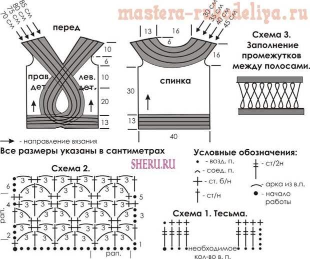 Схема вязания крючком: Маечка из лент