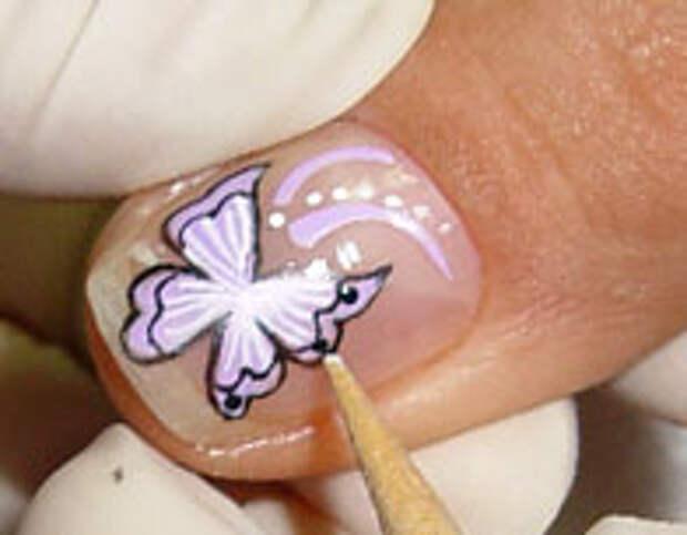 Как нарисовать бабочку на ногтях (14) (196x153, 25Kb)