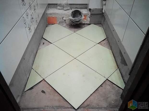 Ремонт туалета фото, укладка напольной плитки по диагонали