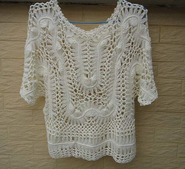 Hairpin Crochet Lace Blouse Womens Summer by Tinacrochetstudio