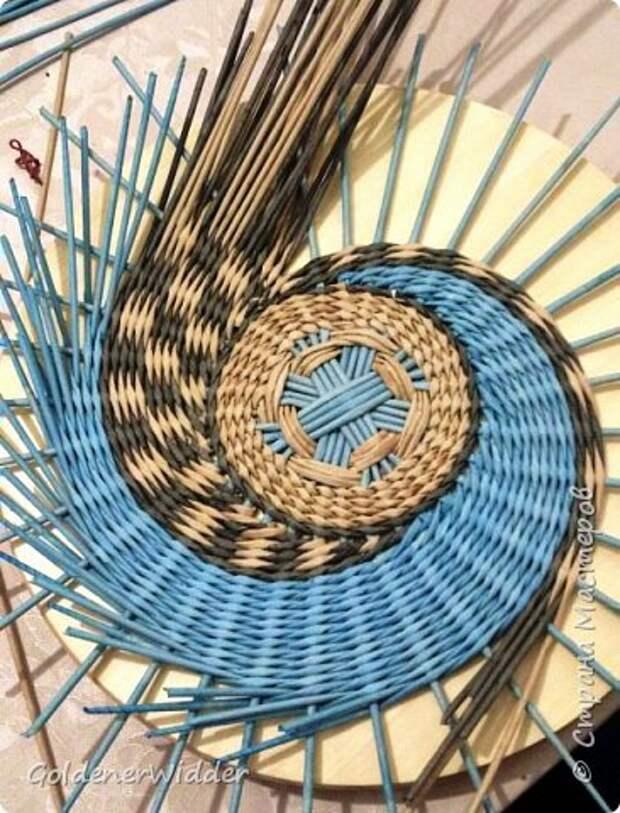 Мастер-класс Плетение Панно 40 см Спиральное плетение Бумага газетная Трубочки бумажные фото 16