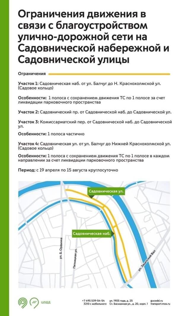 На Садовнической набережной и Садовнической улице ограничат движение до 15 августа