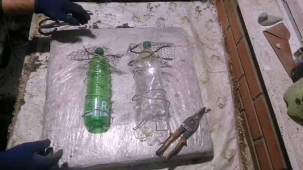 Красивые грибочки для сада из пластиковой бутылки и цемента