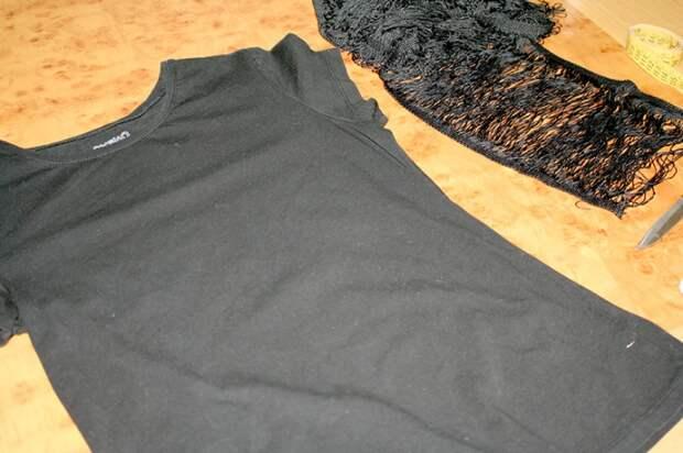 Переделка футболки с неразрезаной бахромой (Diy)