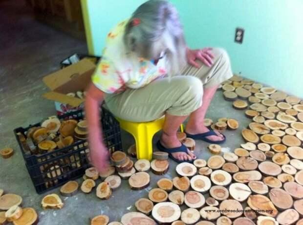 Пол из деревянных дисков бревна, красота, пол