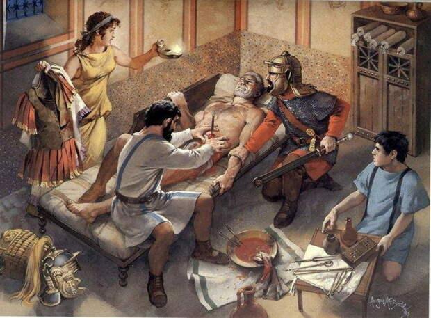 Врач извлекает стрелу из живота пациента. Рисунок А. МакБрайта - Исцеляющие руки | Warspot.ru