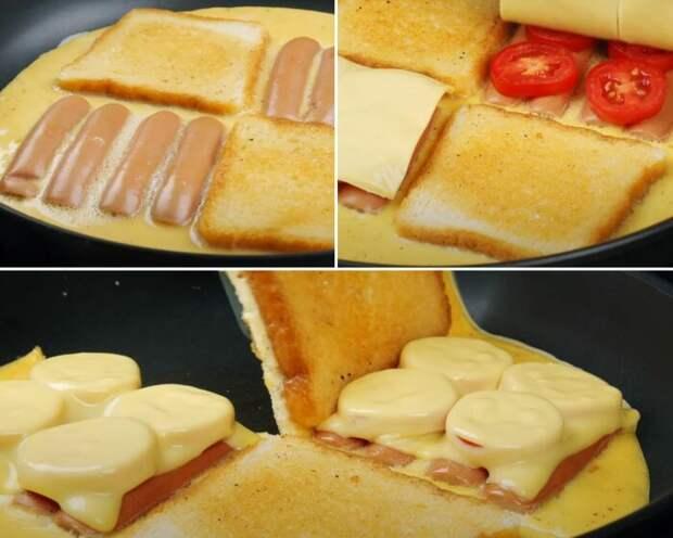 Тосты и сосиски выкладывают в шахматном порядке, и по окончании готовки складывают в сэндвич. /Фото: youtube.com/watch?v=Salq6OKo4o4