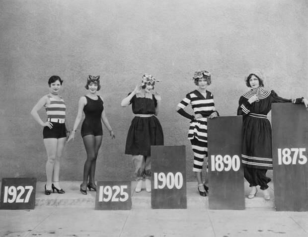 Эволюция женского купальника с 1875 по 1927 год