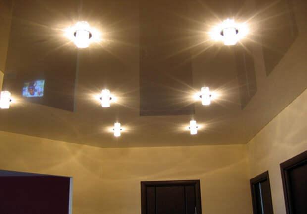 Правильное освещение — важный компонент глянцевого потолка
